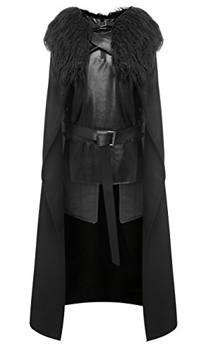 Jon Snow Cloak Costume (DESTTY Cosplay Costume Full Set Halloween Party Outfit Cloak Cape for Men and Child L)