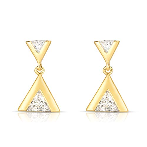 Unique Royal Jewelry 925 Solid Sterling Silver and Trillion Cut Cubic Zirconia Designer Modern Triangle Post Dangling Drop Earrings. (14K Yellow Gold Plated) (Trillion Shape Earring Settings)