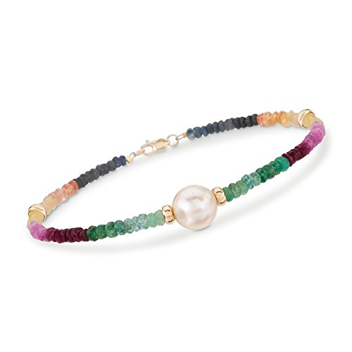 Ross-Simons 17.50 ct. t.w. Multicolored Sapphire and 9.5-10.5mm Cultured Pearl Bracelet in 14kt Yellow Gold