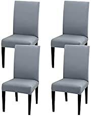 JQinHome High Stretch Removable Washable Chair Seat Protector Cover for Home Party Hotel Wedding (Pack of 4, Charcoal Gray)