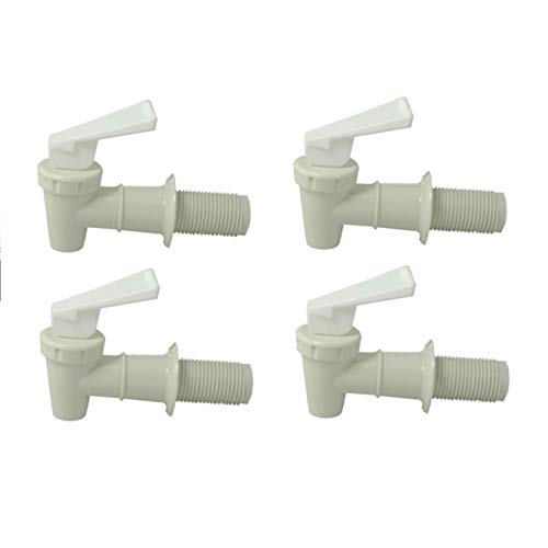 - Plastic Faucet 4-pack, White, Spigot, 3/4 Inch, Water Beverage Dispenser, Gravity Feed, Made in the USA, Fda-approved, with Washers and Nuts