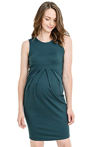 LaClef Women's Knee Length Front Pleated Sleeveless Midi Maternity Dress (Medium, Green)