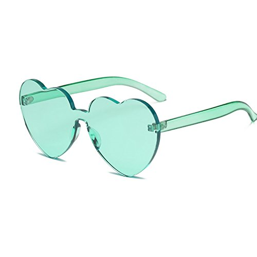 Heart Shaped Rimless Sunglasses Candy Steampunk Lens for women - Sunglasses Shaped