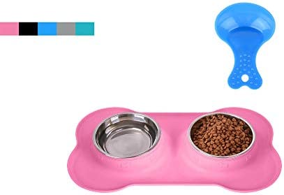 Hubulk Pet Dog Bowls 2 Stainless Steel Dog Bowl with No Spill Non-Skid Silicone Mat + Pet Food Scoop Water and Food Feeder Bowls for Feeding Small Medium Large Dogs Cats Puppies (S, Pink)