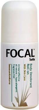 Focal Natural Deodorant Roll-on, Alcohol, Fragrance & Oil Free, Hypo-allergenic, Non Sticky for Men and Women 60 Ml.