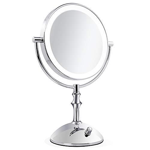 JJYP Espejo de Maquillaje LED-Espejo de cortesía Iluminado de 8 Pulgadas con Aumento de 1x/10x,Espejo de Doble Cara con...