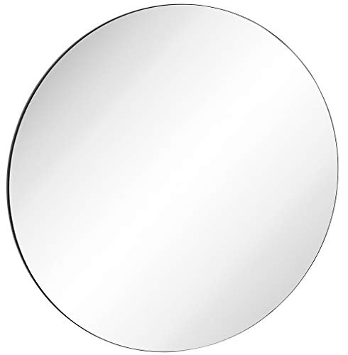 Hamilton Hills Contemporary Thin Black Edge Circular Wall Mirror | Glass Panel Rounded Circle Design Vanity Mirror (30