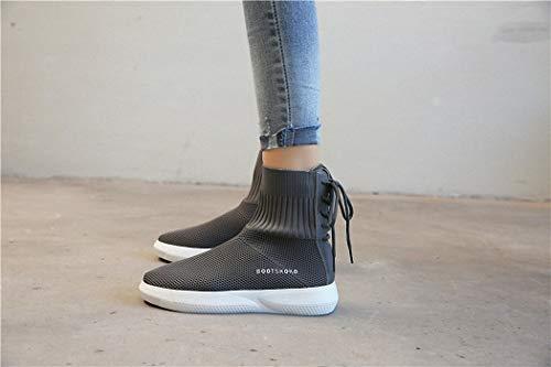 Calcetines Señoras de Hip Hop Zapatos de Calcetines Lucdespo Calzado Casuales Deportivo Punto Botas elásticos Transpirables gris Medias gdtqWx