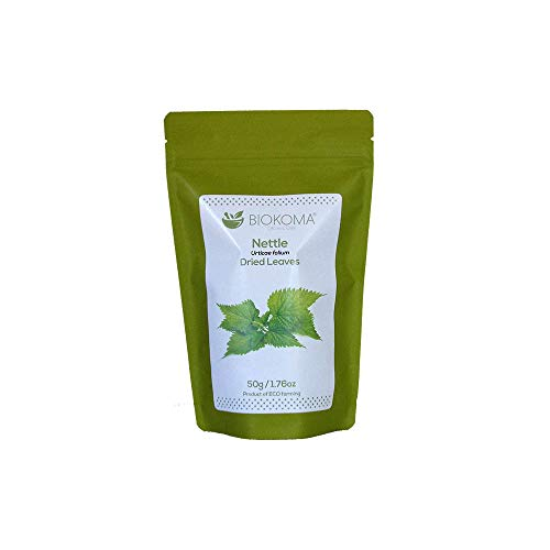 100% Pure and Natural Biokoma Nettle Dried Leaves 50g (1.76oz) in Resealable Moisture Proof Pouch (Leaf Nettle Dried Freeze)