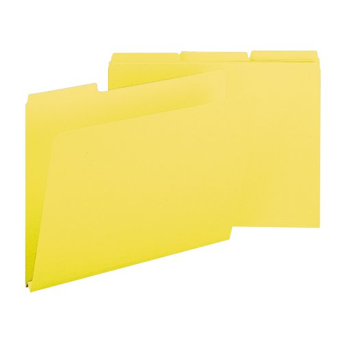 Smead Pressboard Folder, Letter, 1/3 Cut Tab, 1-Inch Expansion, Yellow, 25 per Box (21562)