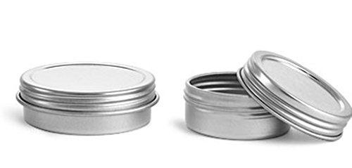 Metal Tins, Silver Metal Twist Top Tins w/ Continuous Thread - 1 oz (.71