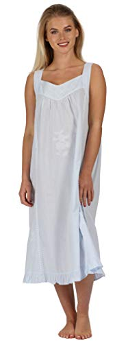 The 1 for U Nancy 100% Cotton Victorian Sleeveless Nightgown 7 Sizes (XS, Blue)