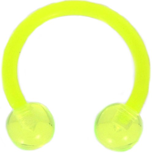 Light Green Double Ball Horseshoe Rings Circular Barbells Made w/Flexible Acrylic - Sold in Pairs (14 Gauge 1/2