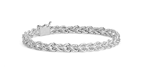 "MCS Jewelry 14 Karat Solid White Gold Two Row Rope Chain Bracelet 3.0 mm ( Length: 7"" OR 8"" ) (8)"