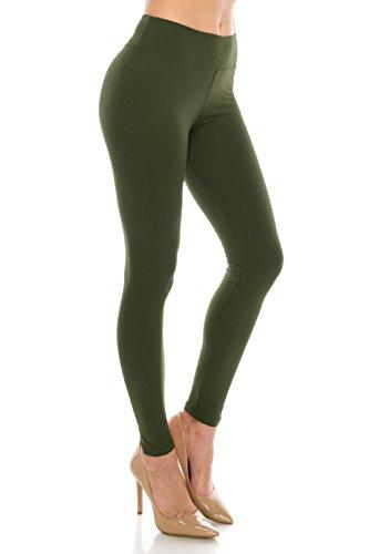 ALWAYS Leggings Women High Waist - Premium Buttery Soft Yoga Workout Stretch Solid Pants Olive Regular