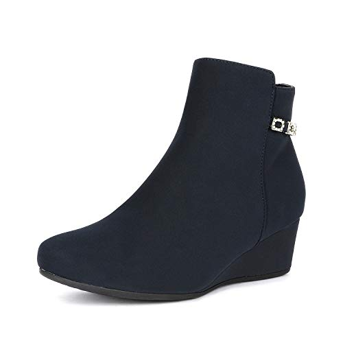 DREAM PAIRS Women's Felicia Dark Blue Low Wedge Ankle Bootie
