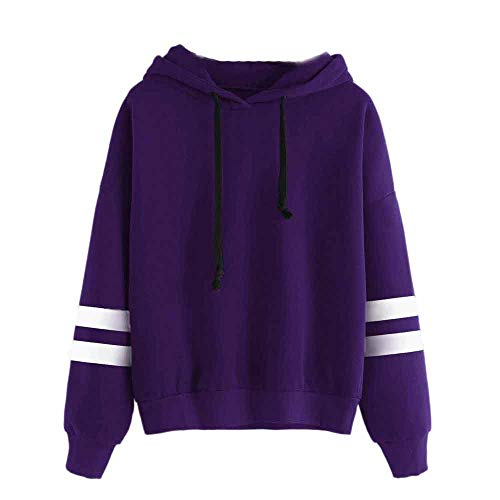 Sunhusing Womens Solid Color Plush Long Sleeve Hoodie Sweatshirt Stripe Splicing Jumper Hooded Pullover Tops
