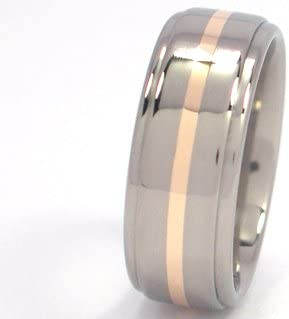 Bands Titanium Wedding Ring With 14k Yellow Gold Inlay Mens Rings