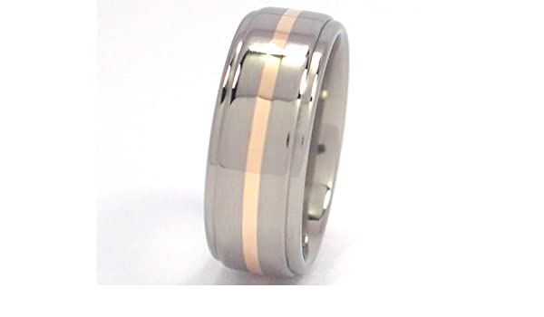 Titanium Wedding Ring With 14k Yellow Gold Inlay Gold Rings Bands