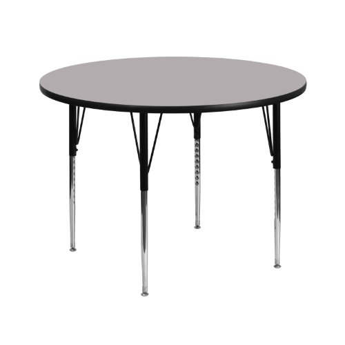Flash Furniture 42'' Round Grey Thermal Laminate Activity Table - Standard Height Adjustable Legs
