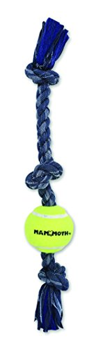 Mammoth 20-Inch 3-Knot Denim Tug Rope with 3-Inch Ball, Medium (Chew Mammoth Flossy)