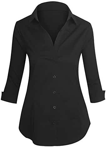 Women's Roll Up 3/4 Sleeve Button Up Collared Shirts with Stretch