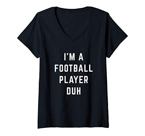Womens I'm a Football Player Duh Easy Halloween Costume V-Neck T-Shirt]()