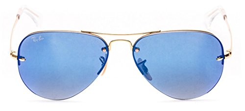 0967a4d99e Ray Ban Rimless Aviators RB3449 Sunglasses Gold Frame Blue Lenses Color  00155 - Buy Online in