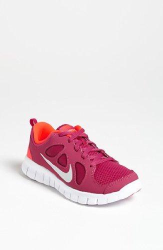 Girls Pre School Nike Free 5.0 Running Shoe Fusion Pink/Total Crimson/Metallic Silver Size 13.5C