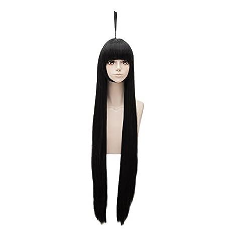 Falamka - Peluca larga para mujer, pelo sintético liso natural, 100 cm, color