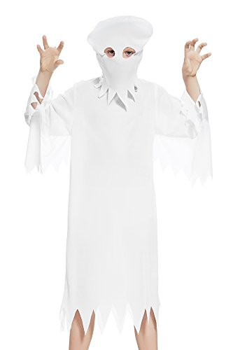 [Kids Boys Ghost Costume Mummy Poltergeist Spooky Robe Haunted Mansion Clothes (6-8 years, White)] (Poltergeist Girl Costume)