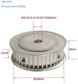 Size : 6mm 1PC HTD 5M 40T Timing Pulley 6//8//10//12//14//15//16//17//20//25mm Inner Bore 5mm Pitch 21mm Belt Width Aluminum Alloy Timing Belt Pulley WNJ-TOOL