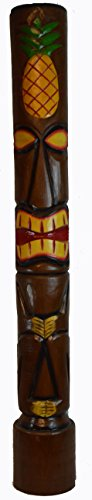 HAND CARVED BEAUTIFUL 5 FT PINEAPPLE TIKI TOTEM POLE STATUE by WorldBazzar