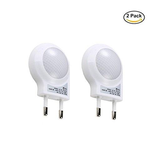 Minger Niedlich Mini LED Nachtlicht 0.7W Steckdose mit Lichtsensor, Steckbare Nachtleuchte, Sensorleuchte, Wandleuchte für Kinderzimmer und Schlafzimmer, Weiß, 2er Pack