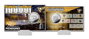 Pittsburgh Penguins 5-Time Stanley Cup Champions Highland Mint Silver Coin Card