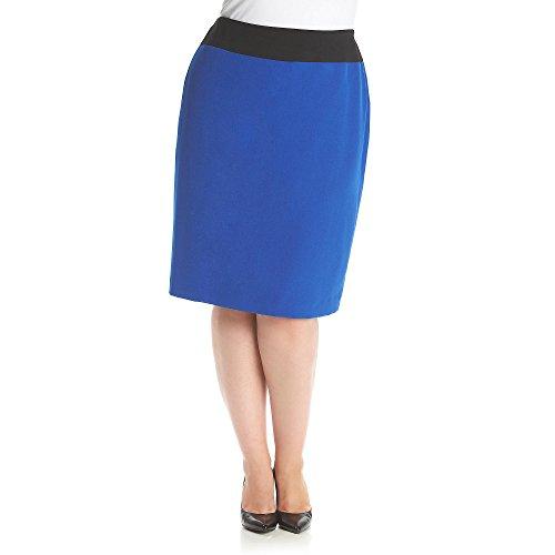 Kasper Women's Plus-Size Suit Skirt with Color Block, Electric Blue/Black, 24W
