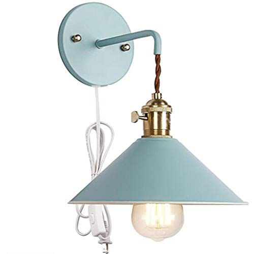 Kiven Nordic Wall Sconce One Cable(Mains Plug and on/Off Switch) Blue Macaron Bedside Reading Light E26 Edison Copper lamp Holder Aisle Lights Frosted Paint Body Corridor Lamp Bathroom Vanity Lights