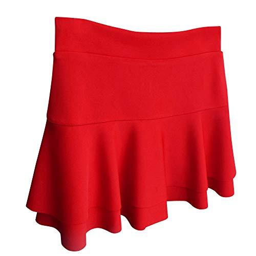 Quge Rosso Elegante Donna Gonna Gonne Minigonna Vita A Pieghe Alta Casuale Yb7f6gy