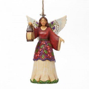 Jim Shore for Enesco Heartwood Creek Angel with Lantern Ornament