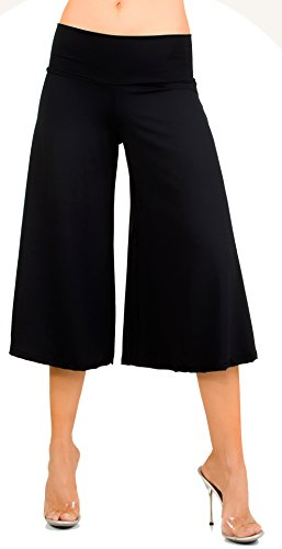Stretch Gaucho Pants with Banded Waist from Shorts - SALEEN Black ()