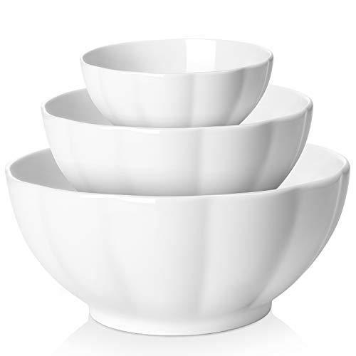 (DOWAN Porcelain Serving/Mixing Bowl Set, Anti-Slipping Nesting Bowls, 3-Pack(Diameter:4.7