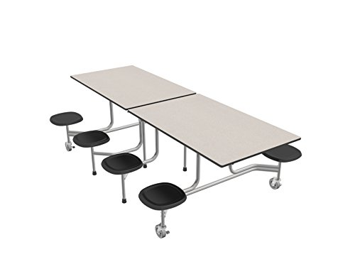 Palmer Hamilton 59TV Easy Folding Mobile Table, 29x30x96, 8 Stools, White/Silver, Cafeteria, School Breakroom Table (Cafeteria Stool Table)