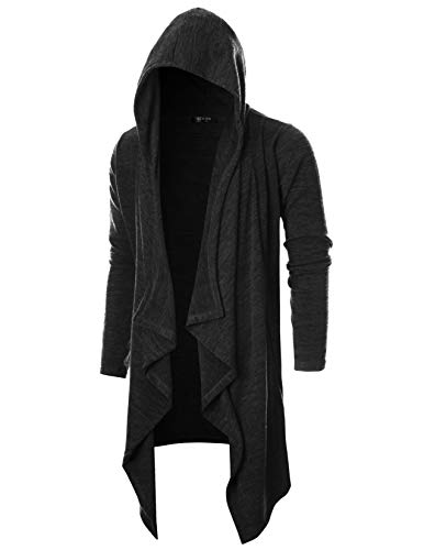 GIVON Mens Long Sleeve Draped Lightweight Ruffle Shawl Collar Cardigan Hooded Cardigan with Pocket/DCC145-BLACK-3XL