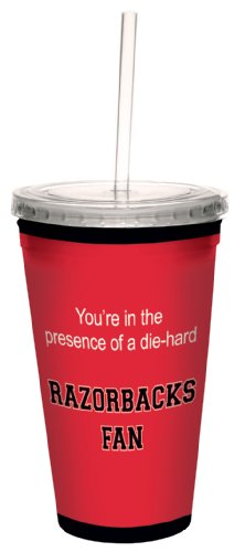 Tree-Free Greetings cc34630 Razorbacks College Basketball Artful Traveler Double-Walled Cool Cup with Reusable Straw, 16-Ounce
