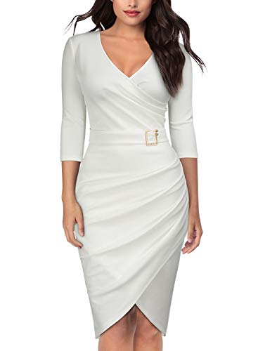Knitee Women's 3/4 Sleeve V-Neck Pleated Office Evening Nightout Cocktail Party Bodycon Sheath Dress White