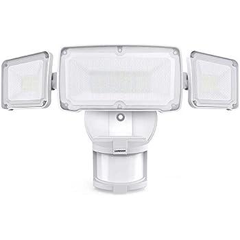 LEPOWER 35W LED Security Lights Motion Sensor Light Outdoor, 3500LM Dusk to Dawn Flood Light, 6000K, IP65 Waterproof, Full Metal, 3 Head Motion Detected Flood Light for Garage, Porch,Yard, Entryways