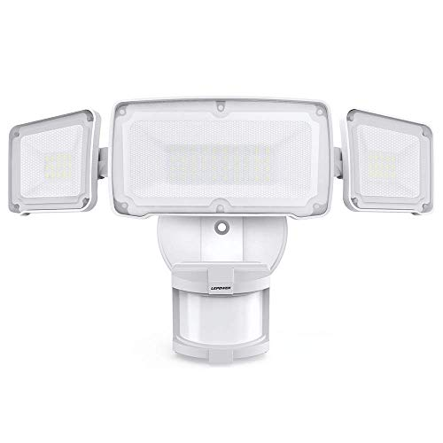 LEPOWER 35W LED Security Lights Motion Sensor Light Outdoor, 3500LM Motion Security Light, 6000K, IP65 Waterproof, Full Metal, 3 Head Motion Detected Flood Light for Garage, Porch,Yard, Entryways