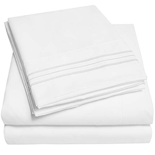 1500 Supreme Collection Extra Soft Split King Sheets Set, White - Luxury Bed Sheets Set with Deep Pocket Wrinkle Free Hypoallergenic Bedding, Over 40 Colors, Split King Size, White