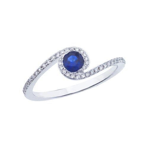 0.42 Carat ctw 14k Gold Round Blue Sapphire & Diamond Bypass Halo Fashion Promise Engagement Ring - White-gold, Size 4