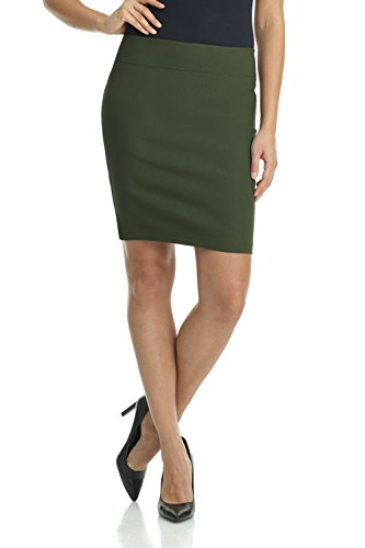 Rekucci Women's Ease Into Comfort Above The Knee Stretch Pencil Skirt 19 inch (Small,Olive)